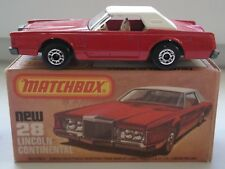 Matchbox Car 75 Lincoln Continental MINT Condition with Box