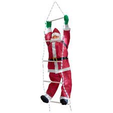 Père Noël sur échelle 250 cm LED éclairage illumination déco Noël saint nicolas