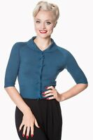 Teal Retro Rockabilly Vintage 50s Plain Peter Pan Collar Cardigan Banned Apparel