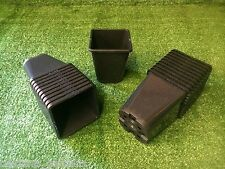 40 X SQUARE 1 LITRE PLASTIC PLANT POTS SQUARE ROUND BLACK TOP QUALITY