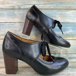 Clarks Womens Mary Jane Pumps Black Leather Tie Front Block Heel Round Toe 7.5M
