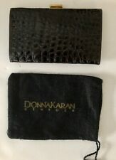 New  DONNA KARAN COLLECTION Black Authentic Crocodile Wallet Italy-Sample
