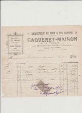 FACTURE COMMERCIALE ANCIENNE CAQUERET TULLY/BETHENCOURT SOMME/ BRIQUETERIE/1902