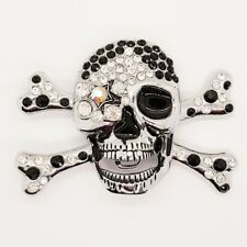 Bling Skull Crossbones Belt Buckle Pirate Booty Crystal Rock Biker Gothic Emo