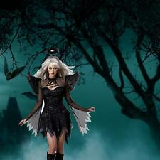 Black Deluxe Fallen Dark Angel Halloween Ladies Fancy Dress Costume + Wings 2016