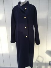 PIERRETTE B Long Winter Coat Navy Blue/Black Super Angora US 8 EU 38 Fits L