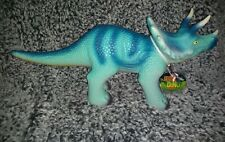 "Toysmith Epic Dino Triceratops Blue yellow, rubber Dinosaur Big 18""Lx7""Tall NWT"