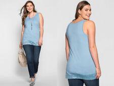 Sheego ~Blue Cotton Lace Trim Vest Top ~ Size 22 ~ [R8]