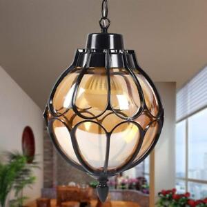 Vintage Glass Pendant Light Waterproof Outdoor Courtyard Aisle Ceiling Light