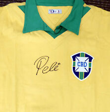 CBD BRAZIL PELE AUTOGRAPHED YELLOW ATHLETA LONG SLEEVE JERSEY BECKETT 161443