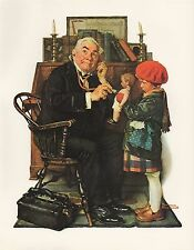 """1977 VINTAGE """"DOCTOR AND DOLL"""" by NORMAN ROCKWELL MINI POSTER COLOR Lithograph"""