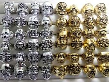 50pcs Skull Gothic Ring Silver Gold Biker Rocker Style Ring Boy Men Jewelry Gift