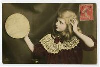c 1910 Child Children Cute LITTLE FRENCH GIRL blond blonde tinted photo postcard