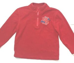 Spiderman Kids Youth Boys Fleece 1/4 Zip Pullover Sweater Red Polyester XS