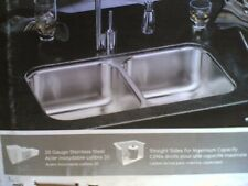 "NIB Nice Elkay Stainless Steel UNDERMOUNT Two-Bowl KITCHEN SINK  29"" x 16"" x 8"""