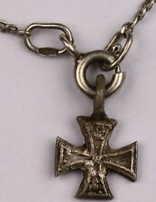 GERMAN wwII IRON CROSS Pendant WWI ww1 or WW2 Sterling SILVER Modern Chain 925