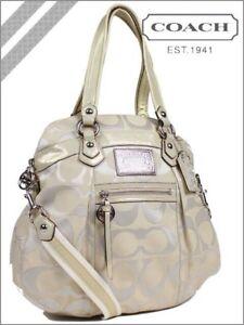 NWT Coach 16291 Poppy Sig Lurex 2-way Satchel Crossbody Bag Khaki Beig Gold
