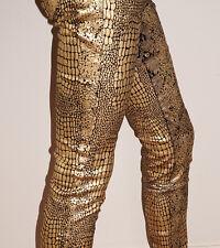 Gold & Black Metallic Animal Print Jeans-Stretch Low Rise Slim Leg-14-W31 L32