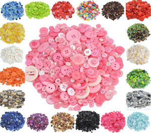 100Pcs Round Resin Buttons for Sewing Apparel DIY Craft Painting Arts Mixed Size