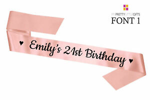 Luxury Hand Printed Personalised Birthday Party Sash Sashes 16th 18th 21st