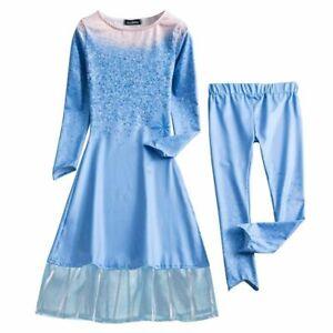 Kids Snow Queen Dress Up Girls Princess Elsa Dress Accessories Clothing Set