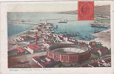 Malaga,Spain,Plaza de Toros y Peurto,Used,Gilbraltar Stamp,c.1901-06