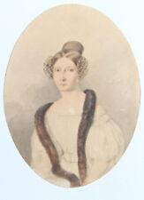 AQUARELLE 1830/40 ELEGANTE à L'ETOLE DE FOURRURE