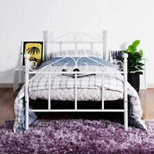 Single Bed Solid 3ft Metal Beds Frame Guest Bed with Large Storage Space White