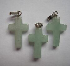3 Vert Aventurine petite croix pendentif charme Perles 18mm x 12mm SP caution