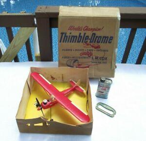 Vintage Cox Thimble-Drome Super Cub 105 Control Line Gas Engine Airplane w/Box