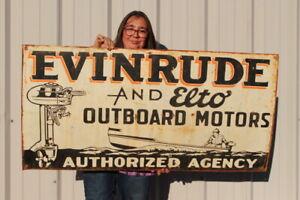 """Large Vintage Evinrude Elto Outboard Boat Motors Fishing Gas Oil 48"""" Metal Sign"""