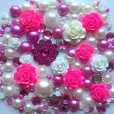 20g HOT PINK+CREAM Pearls/Roses/Gems Flatback Kawaii Cabochons Decoden Craft