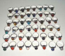 100PCS Wholesale Lot Gemstone 925 Silver Plated Rings Jewelry