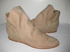 Stuart Weitzman Leather Nubbuck Hidden Wedge Ankle Boots Women's Size 6.5 M