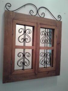 Vintage Wood /Metal Mirror Scroll  With Doors Wall Hanging
