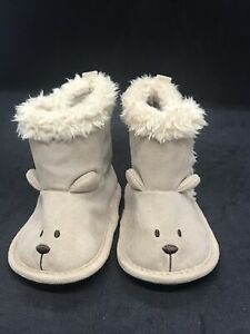 Carter's Child of Mine Baby Faux Suede Beige Tan Ankle Boots 3-6 Month