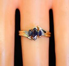 Nice Vintage 10K Gold Estate .75 Ct Marquise Sapphire & Diamond Ring s6.5