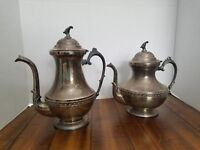 2 Vintage Sheets Rockford Coffee/Tea Pitchers With Lids Sterling Silver plated