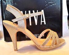 NEW Viva Womens Diamante KL0307R Mid Heel Ankle Strap Sandals, Rose Gold UK 4