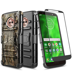 For Motorola Moto G6 Case Belt Clip Holster Cover + Tempered Glass Protector