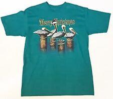 Merry Christmas Pelican T-shirt Large Teal Artsy Silkscreen Holiday Birds Rare