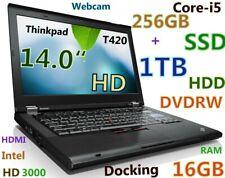 "Thinkpad T420 14"" Core-i5 (256GB SSD + 1TB) DVD-RW 16GB Webcam BT HDMI + Docking"