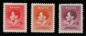 Nauru KG6 1937 Coronation part set of 3 to 1/- purple.