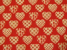 """4 Yds 32"""" White Hearts with Patterns on Red Background Fabric Wamsutta Valentine"""