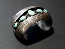 Vintage Navajo Old Pawn Sterling & Turquoise Cuff Bracelet 84.6 Grams