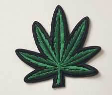 Green Leaf Embroidered Iron On Sew On Patch Applique Motif Badge