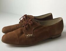 Vintage Bally Switzerland Lace Up Oxford Shoes Womens 6.5 E Uk 9 Us Cognac Suede