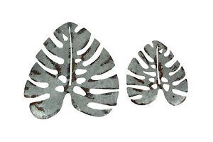Set of 2 Galvanized Zinc Finish Metal Monstera Leaf Sculptures Wall Hanging