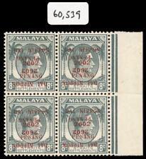 Malaya Jap Occ 1942 KGVI 8c block OVERPRINT DOUBLE, ONE INVERTED vfm. SG J81b.