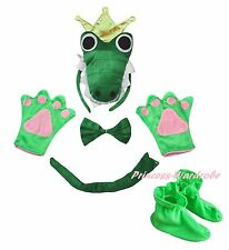 3D Green Crown Crocodile Headband Bow Tail Paw Shoes 5p Kid School Party Costume